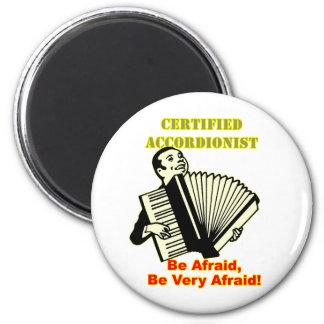 Acordeonista certificado imán redondo 5 cm