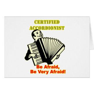 Acordeonista certificado tarjeta de felicitación