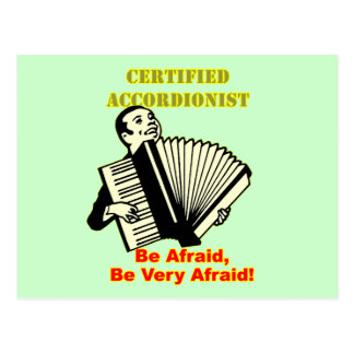 Acordeonista certificado tarjeta postal