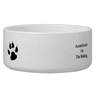 Acordeonista en la fabricación tazon para perro