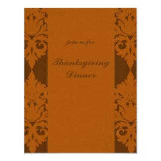 Acorn Brown Damask Thanksgiving Dinner Invite