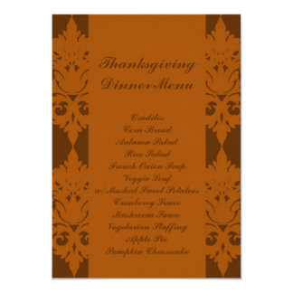Acorn Brown Damask Thanksgiving Dinner Menu Card