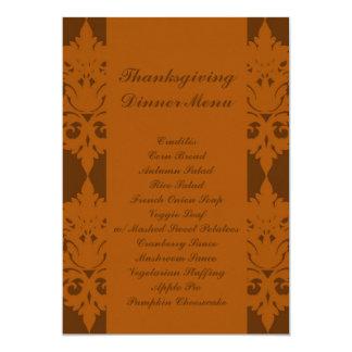 Acorn Brown Damask Thanksgiving Dinner Menu Card