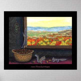 Acorn Thieves - Nature Art Poster