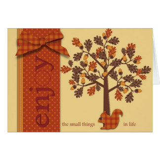 Acorn Tree with Squirrel for Thanksgiving Card