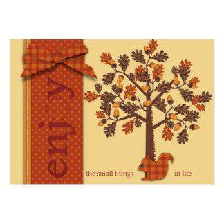 Acorn Tree with Squirrel for Thanksgiving Large Business Card