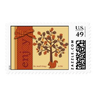 Acorn Tree with Squirrel for Thanksgiving Stamps