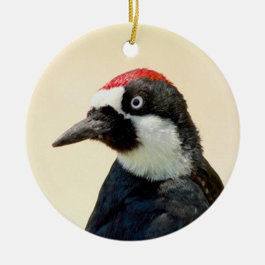 Acorn Woodpecker Portrait Ceramic Ornament