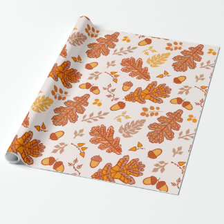 Acorns and Fall Leaves Wrapping Paper