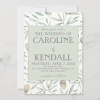 Acorns and greens wedding invitation