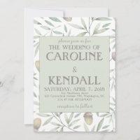 Acorns and greens wedding invitation