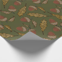 Acorns and Oak Leaves on Thyme Green Wrapping Paper