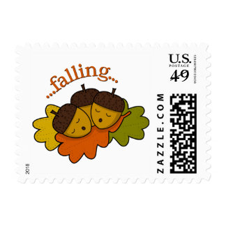 acorns falling (asleep) postage