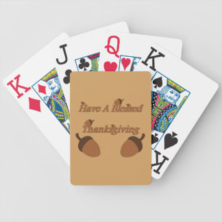 Acorns ~ Have A Blessed Thanksgiving Bicycle Playing Cards