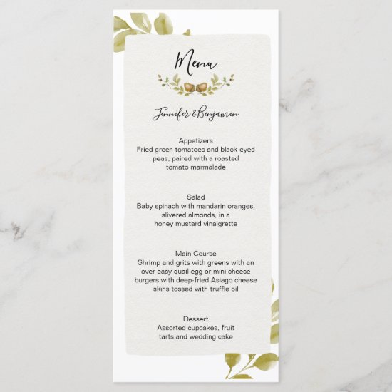 Acorns Oak Leaves Wedding | Menu