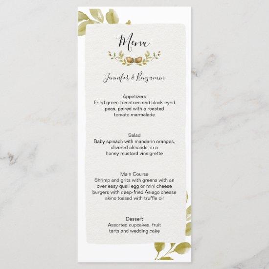 Acorns Oak Leaves Wedding | Menu