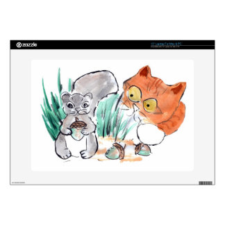 """Acorns, Squirrel and a Curious Tiger Kitten Skins For 15"""" Laptops"""
