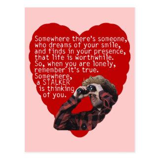 Acosador - día de San Valentín divertido Postal