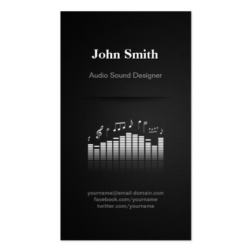 Acoustic Audio Sound Designer Engineer Director Business Card Templates (front side)