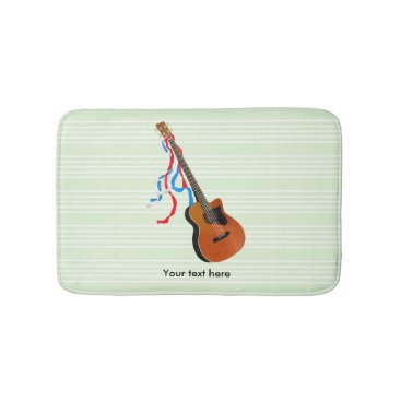 USA Themed Acoustic Bass Guitar American Music Bathroom Mat