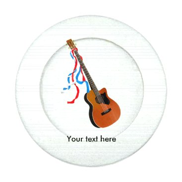 USA Themed Acoustic Bass Guitar American Music Button Covers