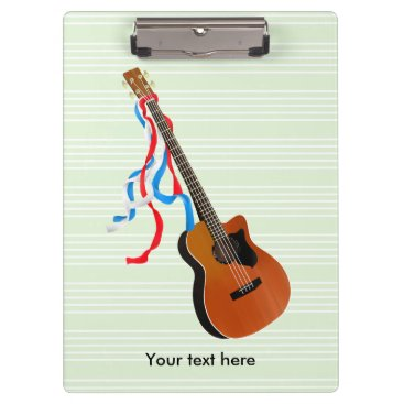 USA Themed Acoustic Bass Guitar American Music Clipboard