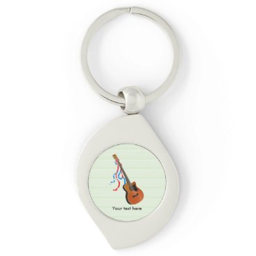 USA Themed Acoustic Bass Guitar American Music Keychain