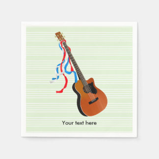 Acoustic Bass Guitar American Music Napkin