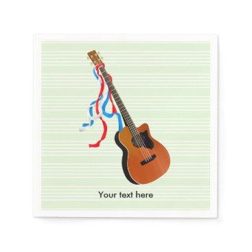 USA Themed Acoustic Bass Guitar American Music Napkin