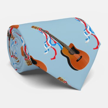 USA Themed Acoustic Bass Guitar American Music Neck Tie