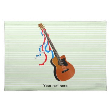USA Themed Acoustic Bass Guitar American Music Placemat