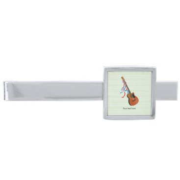 USA Themed Acoustic Bass Guitar American Music Silver Finish Tie Clip
