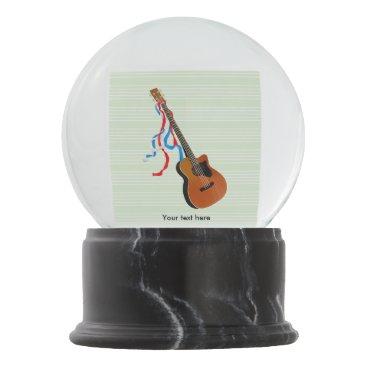 USA Themed Acoustic Bass Guitar American Music Snow Globe