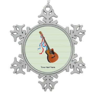 USA Themed Acoustic Bass Guitar American Music Snowflake Pewter Christmas Ornament