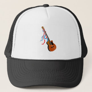 Acoustic Bass Guitar American Music Trucker Hat