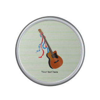 Acoustic Bass guitar, red white and blue ribbons Bluetooth Speaker