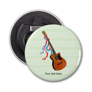 Acoustic Bass guitar, red white and blue ribbons Bottle Opener