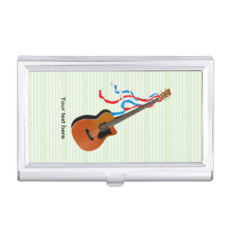 Acoustic Bass guitar, red white and blue ribbons Case For Business Cards