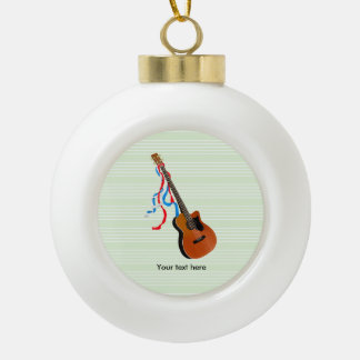Acoustic Bass guitar, red white and blue ribbons Ceramic Ball Christmas Ornament
