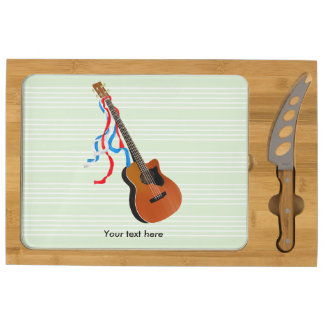 Acoustic Bass guitar, red white and blue ribbons Cheese Platter