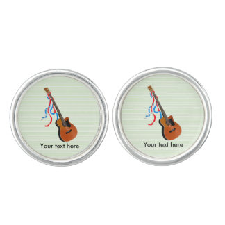 Acoustic Bass guitar, red white and blue ribbons Cufflinks