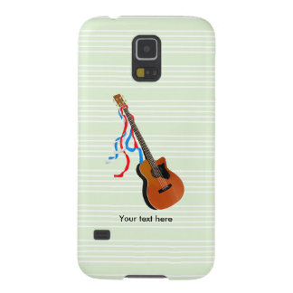 Acoustic Bass guitar, red white and blue ribbons Galaxy S5 Case