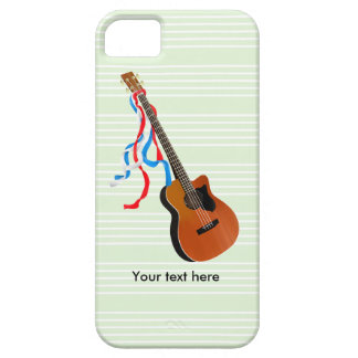 Acoustic Bass guitar, red white and blue ribbons iPhone SE/5/5s Case