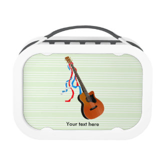Acoustic Bass guitar, red white and blue ribbons Lunch Box