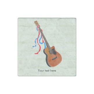 Acoustic Bass guitar, red white and blue ribbons Stone Magnet