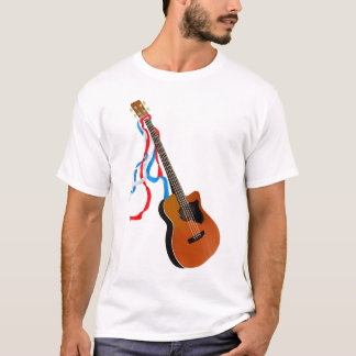 Acoustic Bass guitar, red white and blue ribbons T-Shirt