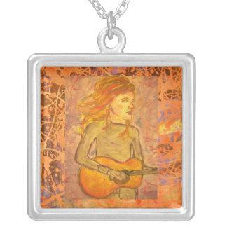 acoustic drawing guitar orange drip square pendant necklace