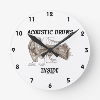 Acoustic Drums Inside (Anatomy Of Human Ear) Round Clock