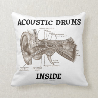 Acoustic Drums Inside (Anatomy Of Human Ear) Throw Pillow