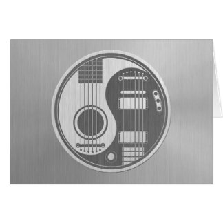 Acoustic Electric Guitars Yin Yang Stainless Steel Greeting Card